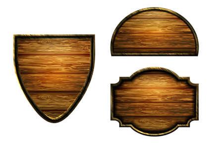Vector realistic illustration of wooden signboard Standard-Bild - 129230367