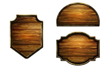 Vector realistic illustration of wooden signboard Banco de Imagens - 129230380