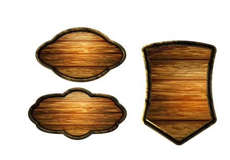 Vector realistic illustration of wooden signboard Standard-Bild - 129230377