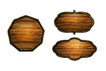 Vector realistic illustration of wooden signboard Banco de Imagens - 129231697
