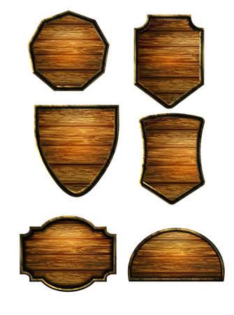 Vector realistic illustration of wooden signboard Ilustração Vetorial