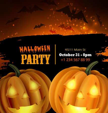 Halloween vector card or background. Vector art. Foto de archivo - 129718568