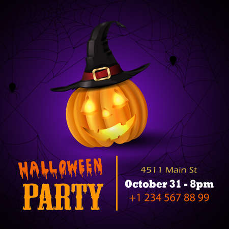 Halloween vector card or background. Vector art. Foto de archivo - 129718588