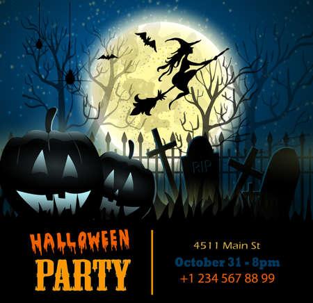Halloween vector card or background. Vector art. Foto de archivo - 129718591