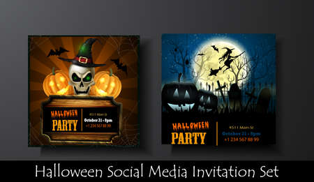 Halloween vector card or background. Vector art.