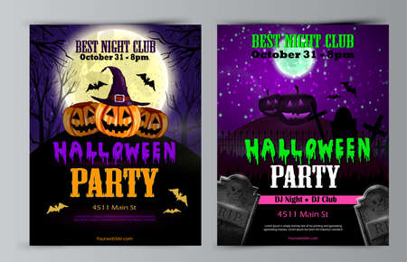 Halloween party flyer set invitation collectio vector