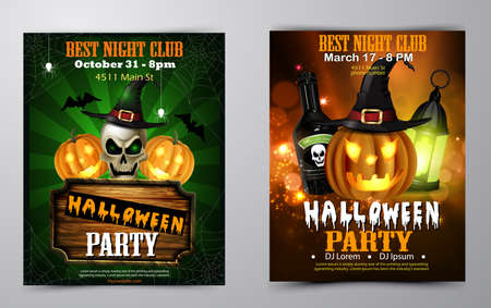 Halloween party flyer set invitation collection vector