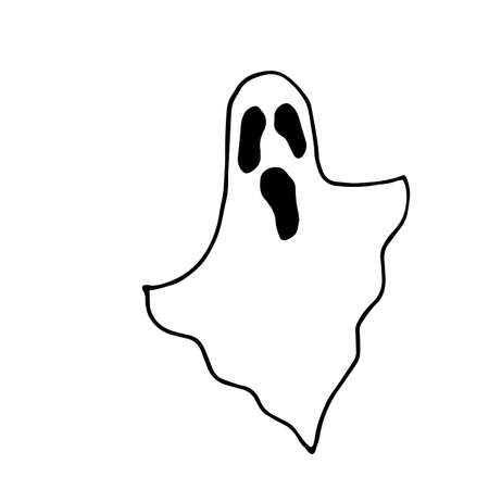 Vector Hand drawn sketch of ghost in black isolated on white background