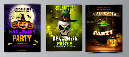 Halloween party flyer set vector