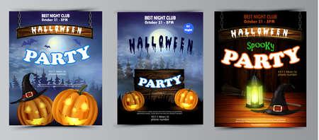 Halloween vertical background with pumpkins