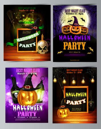 Halloween party invitation on wooden wall background Illusztráció