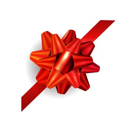 Corner red ribbon and bow vector illustration Ilustração