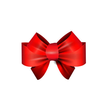 elegant red ribbon and bow isolated on white Stock Illustratie