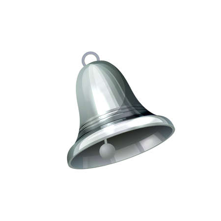 Realistic silver bell isolated on white vector illustration Banque d'images - 132122803