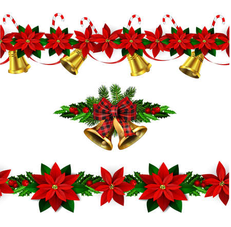 Vector christmas bells with christmas tree decorations Çizim