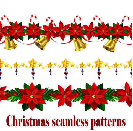 Christmas horizontal seamless set background