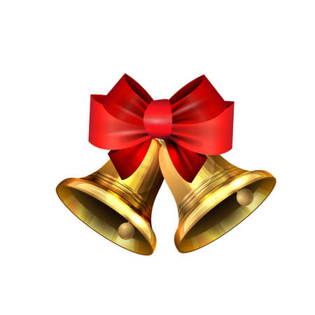 Vector illustration of shiny golden Christmas bells decorated with red bow  イラスト・ベクター素材