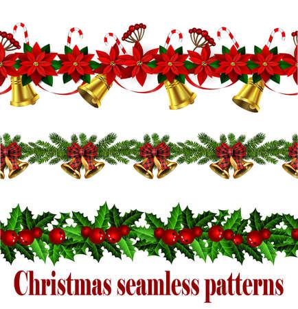 Christmas horizontal seamless set background
