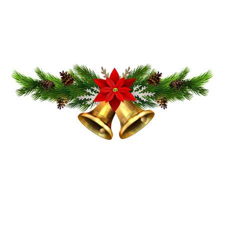 Adornos navideños con cascabeles de abeto dorado y elementos decorativos. Ilustración vectorial