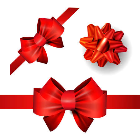 elegant red ribbon and bow set isolated on white vector