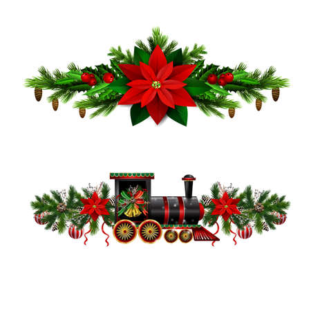 Christmas decorations set with fir tree golden jingle bells Christmas train and decorative elements. Vector illustration Ilustracja