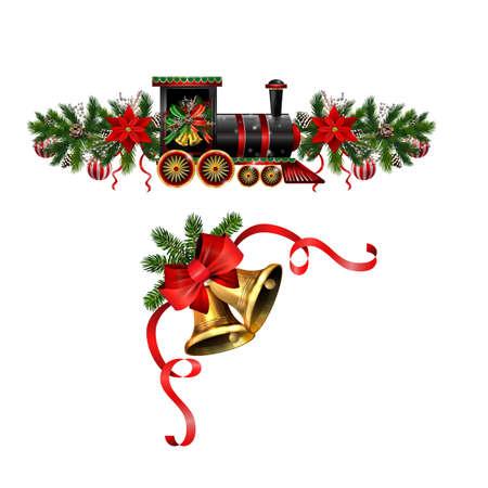 Christmas decorations with fir tree golden jingle bells Banco de Imagens - 132600375