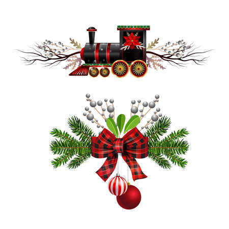 Christmas decorations set with fir tree golden jingle bells Christmas train and decorative elements. Vector illustration Zdjęcie Seryjne - 132602138
