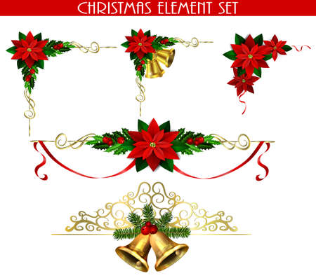 Christmas corner decorations set for your designs vector Stock Illustratie