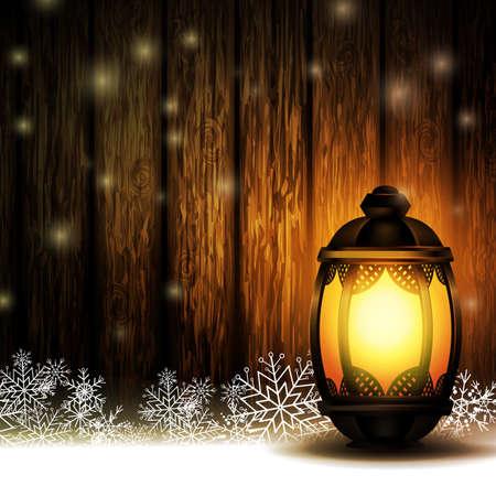 Vintage Christmas wood background lantern