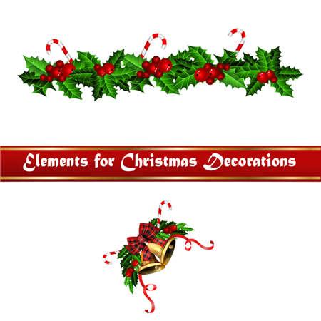 Christmas decorations with fir tree golden jingle bells Stockfoto - 133489074