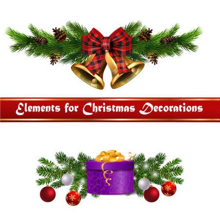 Christmas decorations with fir tree golden jingle bells Stockfoto - 133489075