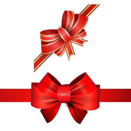 elegant red ribbon and bow set isolated on white