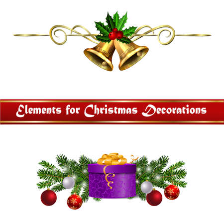 Christmas decorations with fir tree golden jingle bells Stock Illustratie