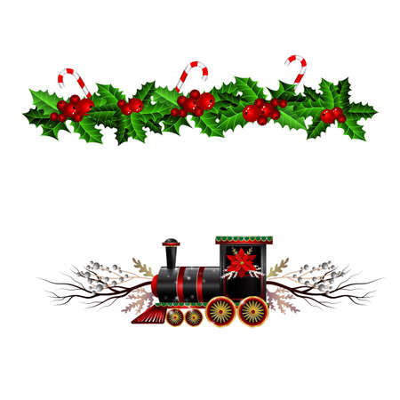 Christmas decorations with fir tree and train Stockfoto - 133489077