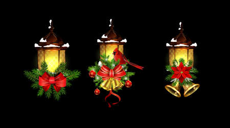 Christmas decoration with street light cpllection Stockfoto - 133489079
