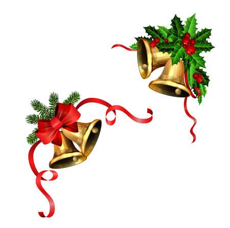 Christmas decorations with fir tree golden jingle bells Stockfoto - 133489078