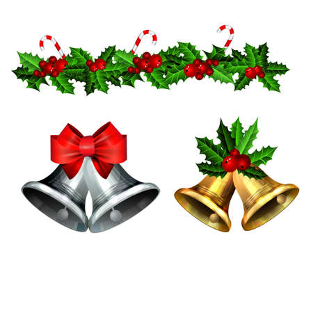 Christmas decorations with fir tree golden jingle bells Stockfoto - 133489080