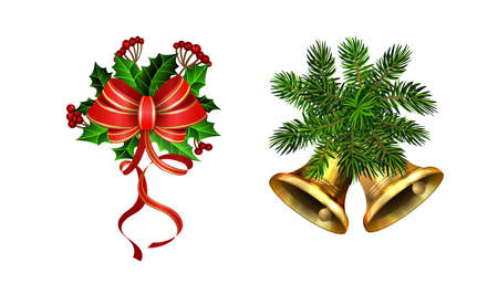 Christmas decorations with fir tree golden jingle bells Stockfoto - 133489081
