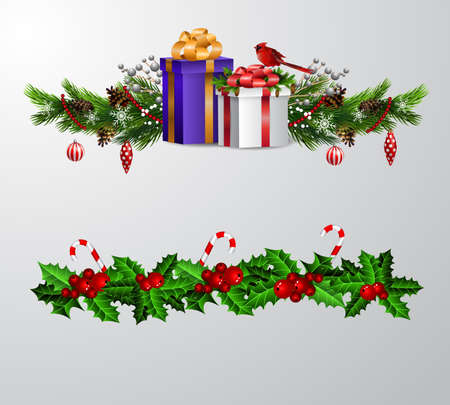Christmas decorations set with fir tree and decorative elements and gift boxes. Vector illustration Banco de Imagens - 133488926