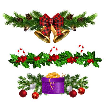 Kerstversiering set met dennenboom gouden jingle bells en decoratieve elementen. vector illustratie Vector Illustratie