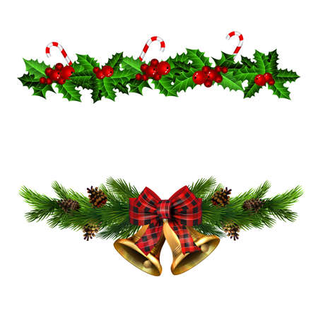 Christmas decorations set with fir tree golden jingle bells and decorative elements. Vector illustration Stockfoto - 133488928