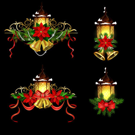 Christmas decoration set with street light and evergreen trees and golden bells with red bow Vector Stockfoto - 133488931