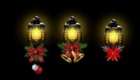 Christmas decoration set with street light and evergreen trees and golden bells with red bow Vector Stockfoto - 133488932