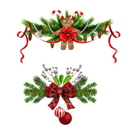 Christmas decorations with fir tree and decorations Stockfoto - 133488933