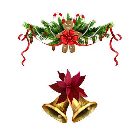 Christmas decorations with fir tree golden jingle bells Stockfoto - 133488934