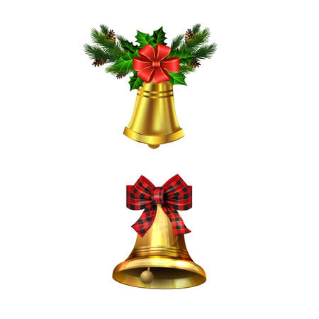 Christmas decorations with fir tree golden jingle bells Stockfoto - 133488938