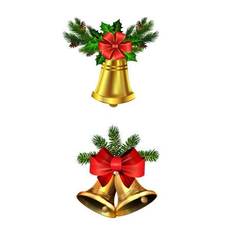 Christmas decorations with fir tree golden jingle bells Stockfoto - 133488939