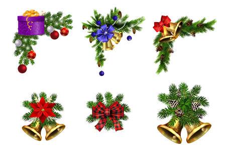 Christmas decorations with fir tree golden jingle bells Stockfoto - 133488941