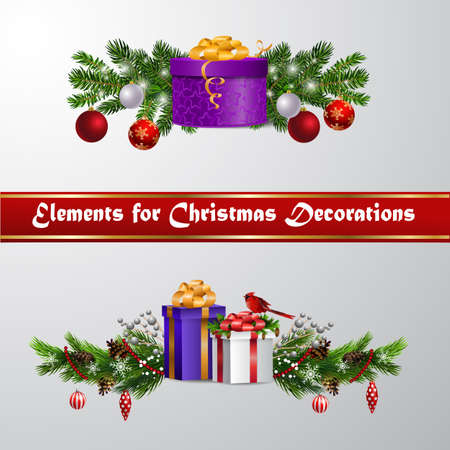 Christmas decorations with fir tree and decorations Banco de Imagens - 133489086