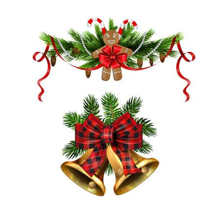 Christmas decorations with fir tree golden jingle bells Stockfoto - 133489088